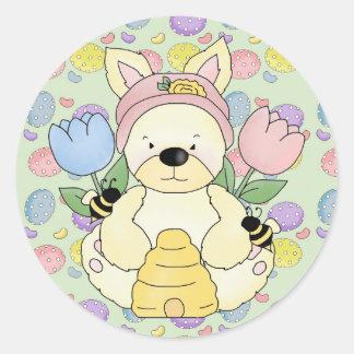 honey bee easter bunny rabbit classic round sticker
