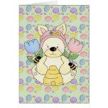 honey bee easter bunny rabbit greeting card