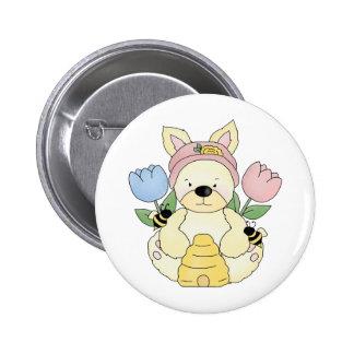 honey bee easter bunny rabbit pinback button