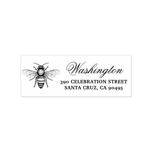 Honey Bee  Family Name Script  Return Address Rubber Stamp