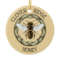 Honey Bee Farm Beekeeper Label Ceramic Ornament