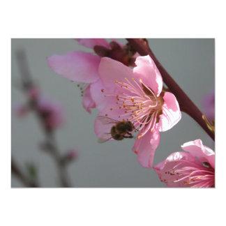 Honey Bee Feeding on Peach Tree Blossom Personalized Invite