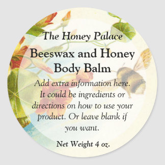 Honey Bee Floral Bath Products Label Classic Round Sticker