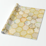"""Honey Bee Floral Honeycomb Beehive Wrapping Paper<br><div class=""""desc"""">Elegant gold floral wrapping paper with a motive of honeycomb. For any occasion like wedding,  birthday,  anniversary,  new home,  honeymoon gift,  packaging,  new baby,  retirements,  corporate event.</div>"""
