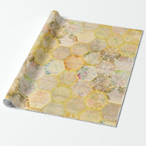 Honey Bee Floral Honeycomb Beehive Wrapping Paper