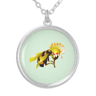 Honey Bee Flower Silver Plated Necklace