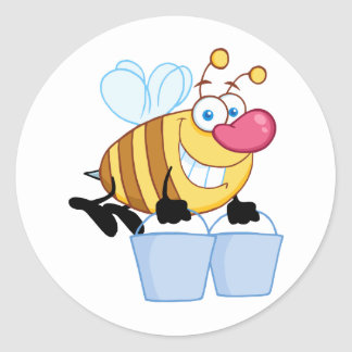 Honey Bee Flying With A Buckets Round Sticker