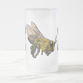 Honey Bee Frosted Glass Beer Mug