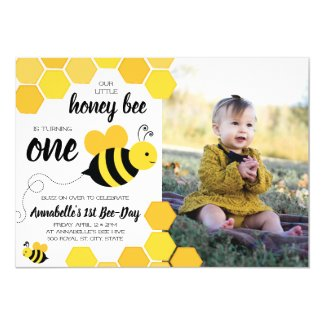 Honey Bee Girls First Birthday Photo Invitation