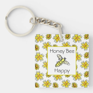 Honey Bee Happy Yellow Daisy Buttercup Flowers Double-Sided Square Acrylic Keychain