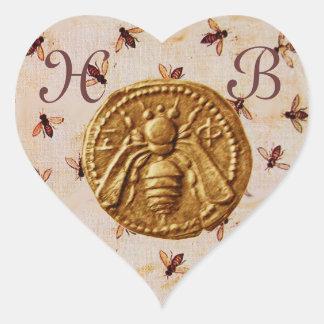 HONEY BEE,  HEART MONOGRAM HEART STICKER