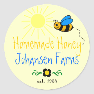 Honey Bee Homemade Farm Classic Round Sticker
