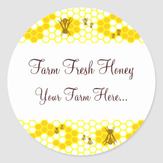 Honey Bee Honeycomb Art Custom Jar Stickers