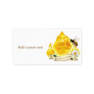 Honey Bee Honeycomb Custom Jar Label