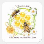 Honey Bee Honeycomb Custom Jar Stickers
