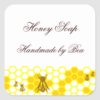 Honey Bee Honeycomb Custom Soap Label Stickers