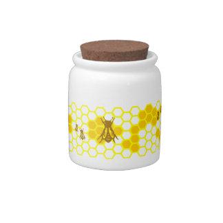 Honey Bee Honeycomb Pattern Candy Dish