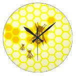 Honey Bee Honeycomb Wall Clock