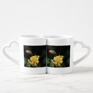 honey bee in flight coffee mug set