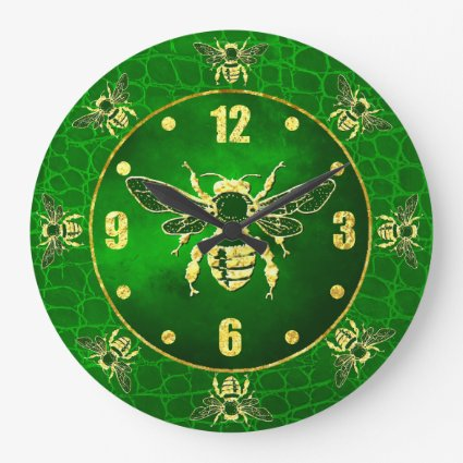Honey Bee in Gold and Green Large Clock