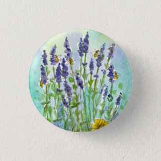 Honey Bee Lavender Herb Watercolor Flowers Button