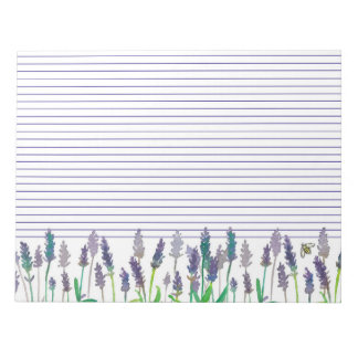 Honey Bee Lavender Watercolor Flowers Lined Notepad