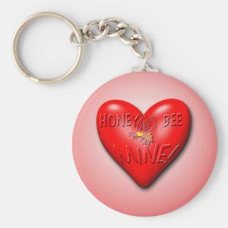Honey Bee Mine Valentine Basic Round Button Keychain