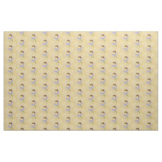 Honey bee on a flower honeycomb background fabric