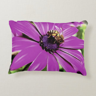 Honey Bee On a Spring Flower Accent Pillow