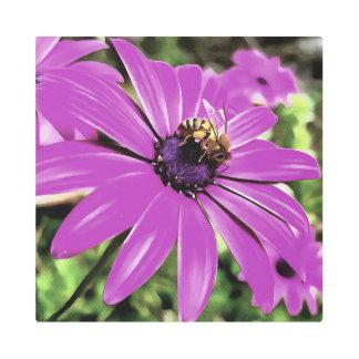 Honey Bee On A Spring Flower Metal Print