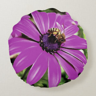 Honey Bee On a Spring Flower Round Pillow