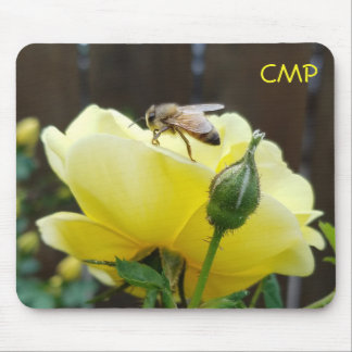 Honey Bee on a Yellow Rose your Initials Mouse Pad