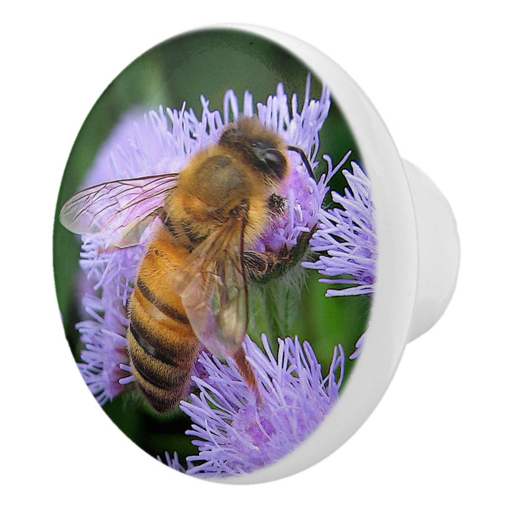 Honey Bee on Ageratum Ceramic Knob