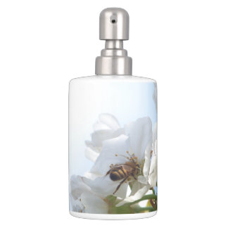 Honey Bee On Cherry Blossoms Bath Set