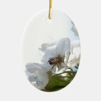 Honey Bee on Cherry Blossoms Christmas Ornaments