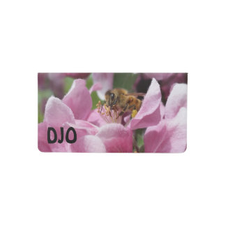 Honey Bee on Crabapple Blossom your Initials Checkbook Cover
