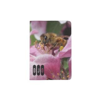 Honey Bee on Crabapple Blossom your Initials Passport Holder