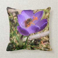 Honey Bee On Crocus Throw Pillow