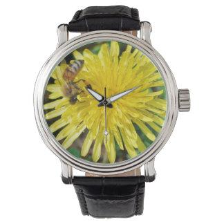 Honey Bee on Dandelion Wristwatch