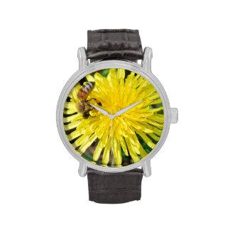 Honey Bee on Dandelion Wristwatches