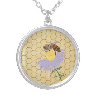Honey bee on flower honeycomb painting necklaces
