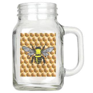 Honey Bee on Honeycomb Mason Jar