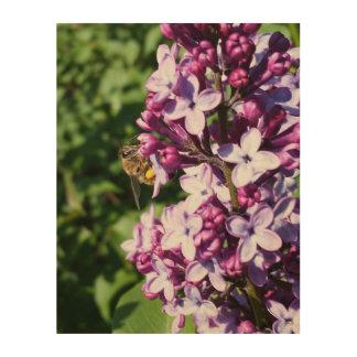 Honey Bee On Lilac by djoneill Wood Wall Art