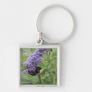 Honey Bee on Purple Flower Key Chains