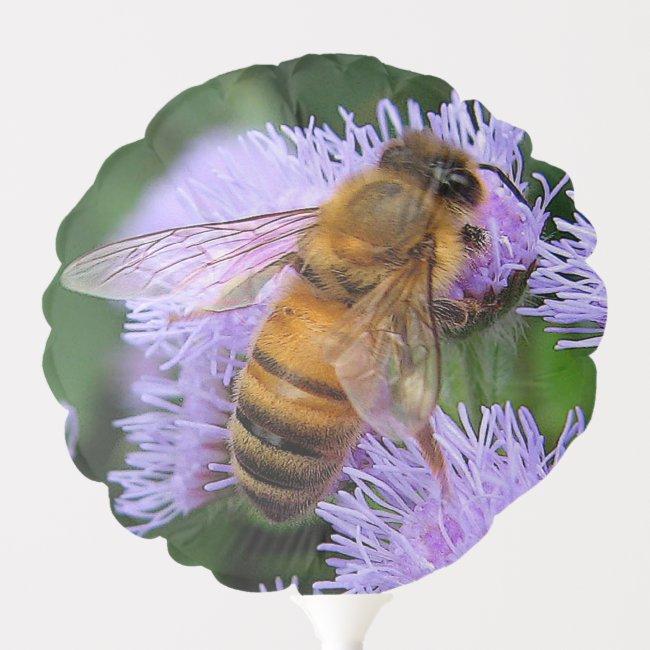 Honey Bee on Purple Flowers Floral Balloon