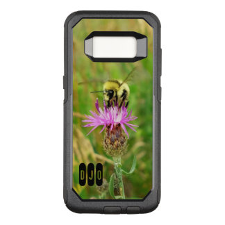 Honey Bee on Purple Weed blossom and your Initials OtterBox Commuter Samsung Galaxy S8 Case