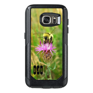 Honey Bee on Purple Weed blossom and your Initials OtterBox Samsung Galaxy S7 Case