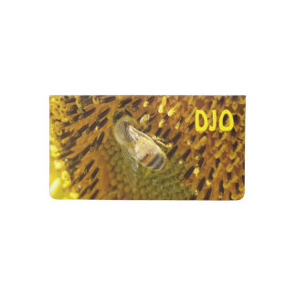 Honey Bee on Sunflower Blossom your Initials Checkbook Cover