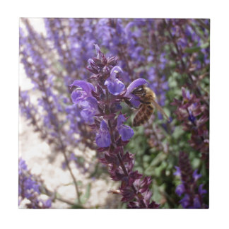 Honey Bee On Woodland Sage Ceramic Tile