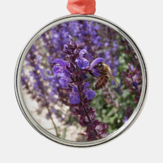 Honey Bee On Woodland Sage Christmas Ornaments